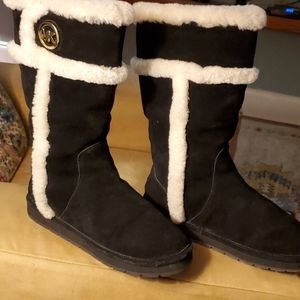 Michael Kors black shearling suede boots